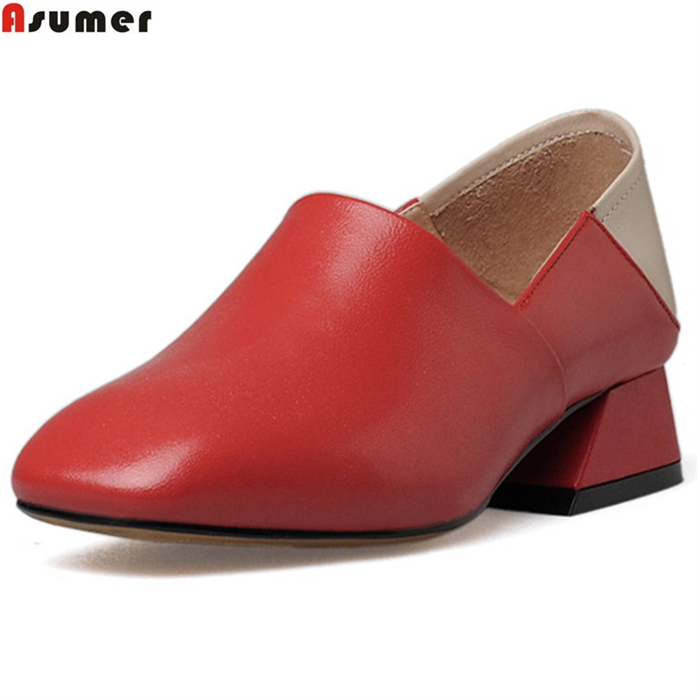 Asumer black red fashion spring autumn new women pumps genuine leather shoes square toe mixed color low heels shoes casual asumer red black fashion spring autumn shoes woman round toe shallow casual square heel patent leather women low heels shoes
