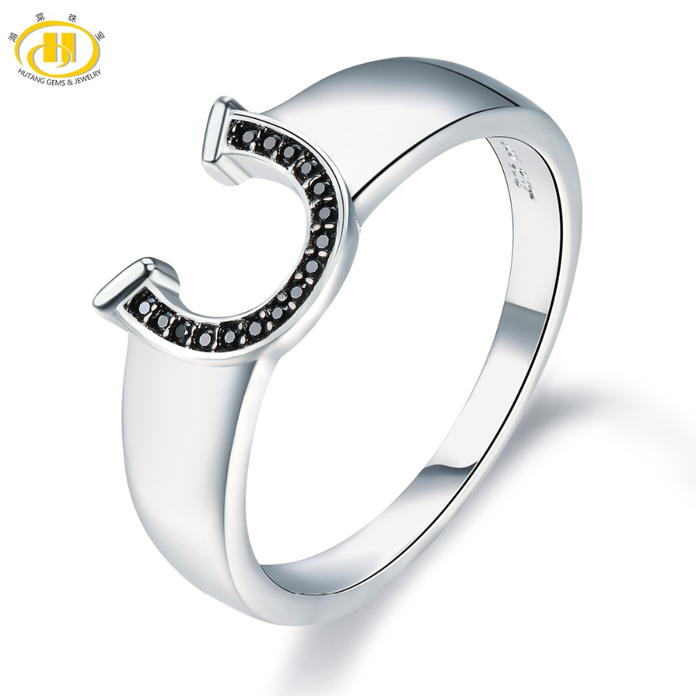 Hutang Men Jewelry Natural Gemstone Spinel Solid 925 Sterling Silver Horseshoe Ring Fashion Stone Jewelry For Fathers Day GiftHutang Men Jewelry Natural Gemstone Spinel Solid 925 Sterling Silver Horseshoe Ring Fashion Stone Jewelry For Fathers Day Gift