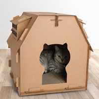 Furniture DIY Have Small Window Kitten Supplies Corrugated Paper Cat House Indoor Scratch Board Self Assembly Carton Box Pet