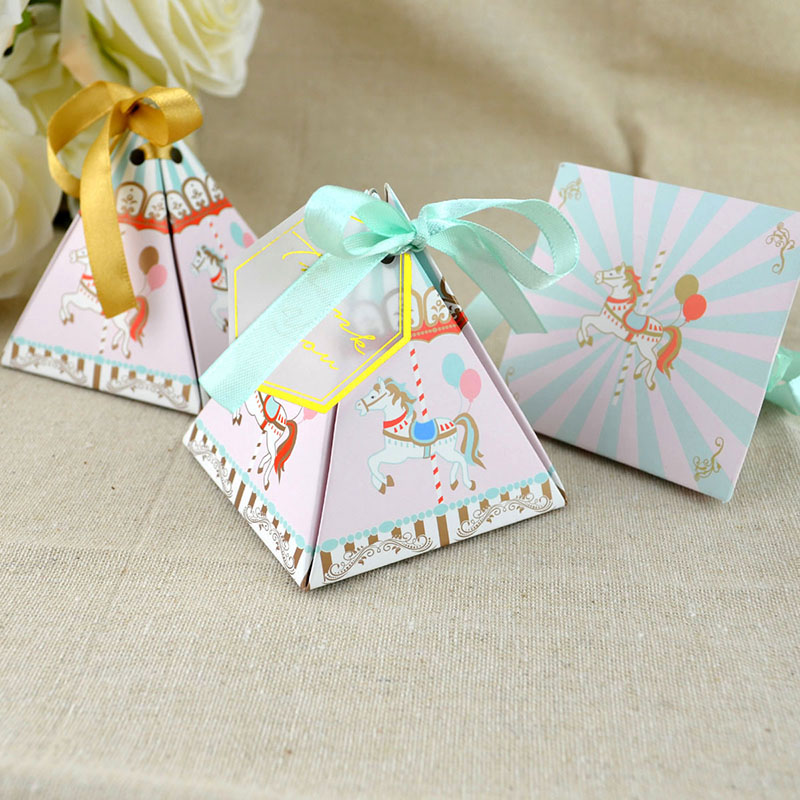 10pcs Laser Cut Carousel Favor Box And Bags Sweet Gift Candy Boxes Baby Shower & Ribbon Wedding Birthday Party Favor Decorations
