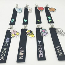 2018 Kpop BTS Accessories BT21 Laser Lanyard Keychain Pendant Cute Phone Strap ARMY Ribbon Keyring Bag Pendant Streamers Rope(China)