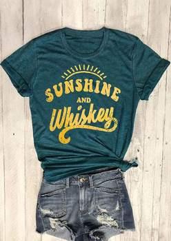 Baru Wanita t shirt tops tee Lengan Pendek Hijau Tua Sinar Matahari dan Whiskey Cetak O-Neck T-Shirt 2018 Musim Panas Kasual Perempuan tops Tee