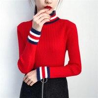Korean chic new core spun yarn striped shirt bottoming female mink sweater female half pit strip thick turtleneck sweater A9005