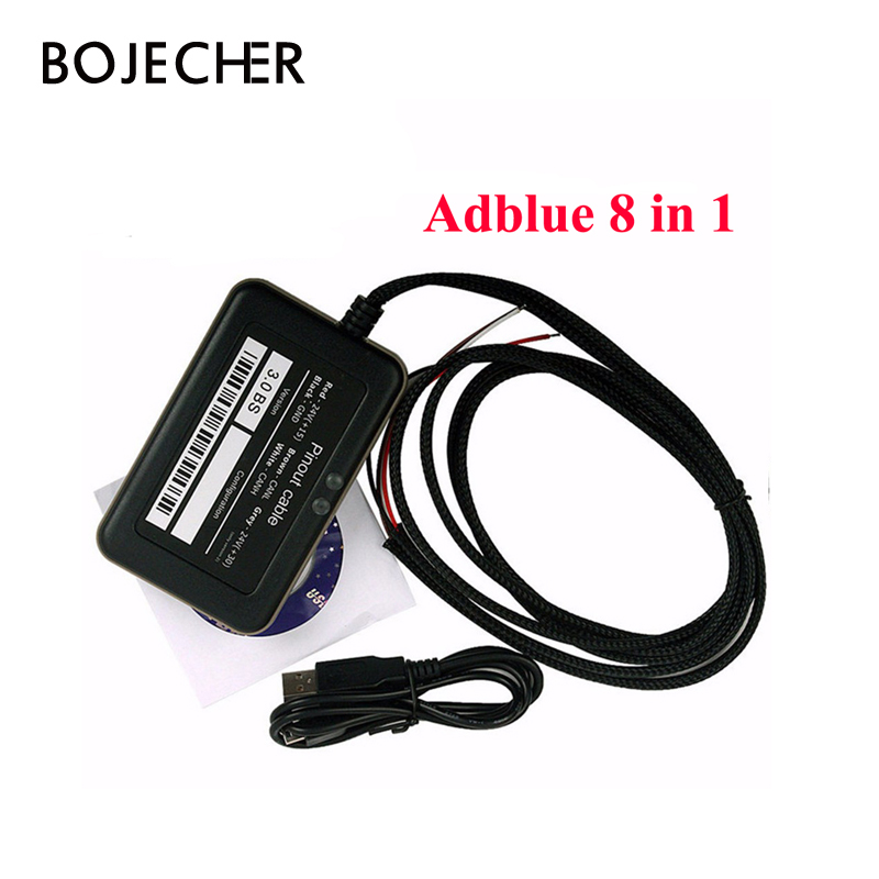 50pcs/lot Top Quality Adblue 8 in 1 Adblue Emulator 8in1 with Nox Sensor Support for 8 kinds Trucks by DHL Free Shipping
