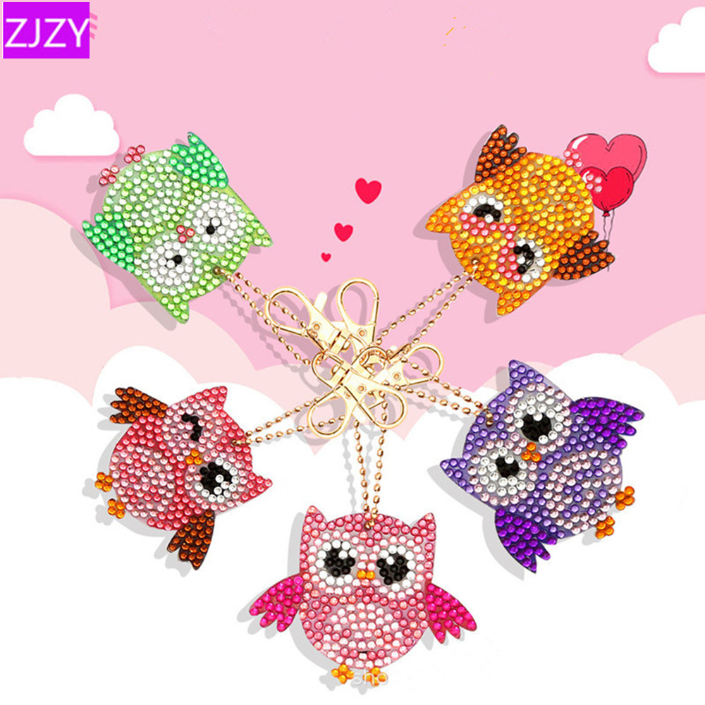 DIY 5D Diamond Embroidery Cartoon Animal Series Key Chain Full Diamond Painting Keychains Cross Stitch  Women Bag Key Chain