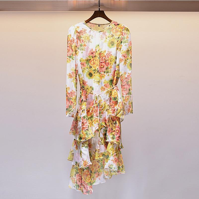 Manches Fleur Soie Casual Jaune Longues Imprimer Robes Summer Femme Moulante New Rond Femelle Mi Robe À Haute fin Col 2018 Zv1z8