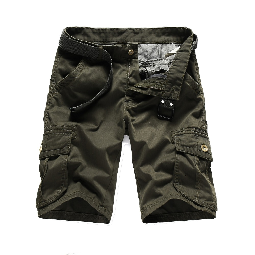 New 2018 Men Cargo Shorts Casual Loose Short Pants Black Army Green Solid Plus Size Summer Knee Length Shorts For Men 5060