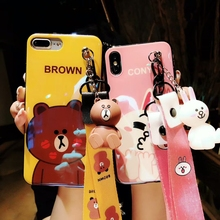 Glossy Cony and Brown bear Case with charm and lanyard For iPhone X 6 6S 7 8 Plus