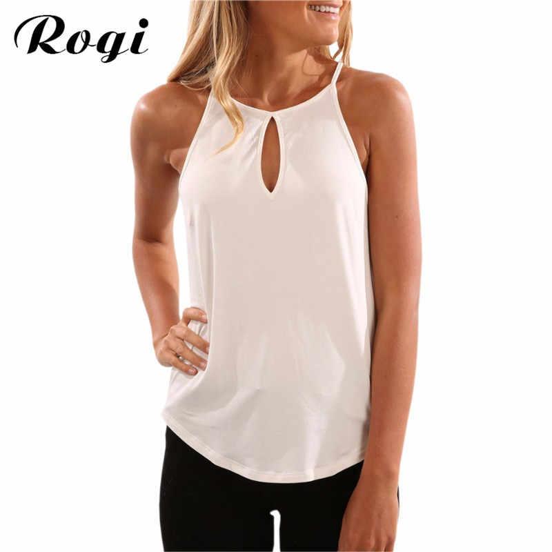 f127b7df158 Rogi Camisetas Mujer 2018 Summer Sleeveless Shirts Women Fashion Solid  O-Neck Blouses Shirt Female