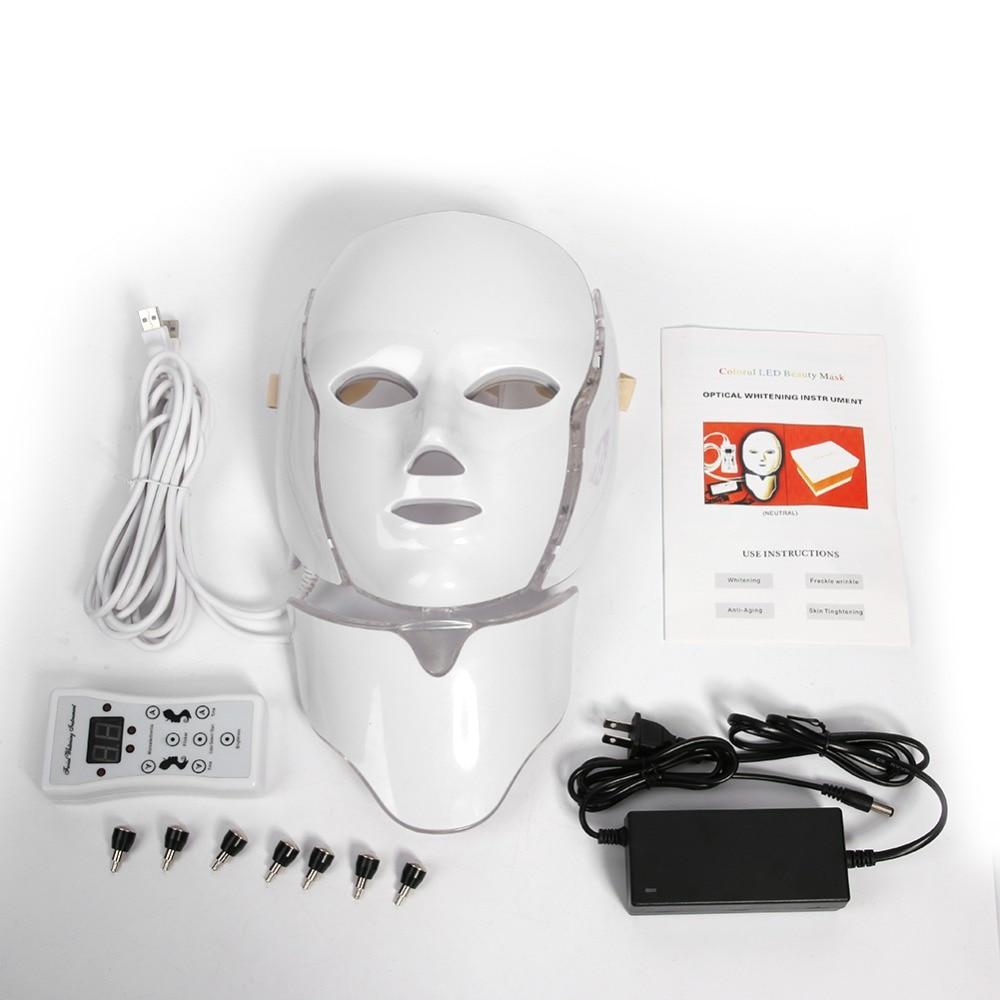 7 couleurs LED clair masque pour le visage avec rajeunissement de la peau du cou Massage du visage beauté Anti-acné thérapie blanchissant la peau serrer le Massage