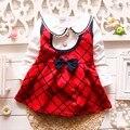1 anos de aniversário do bebê meninas vestido de manga comprida gola virada para baixo roupas infantis meninas arco xadrez meninas roupas de algodão vestido