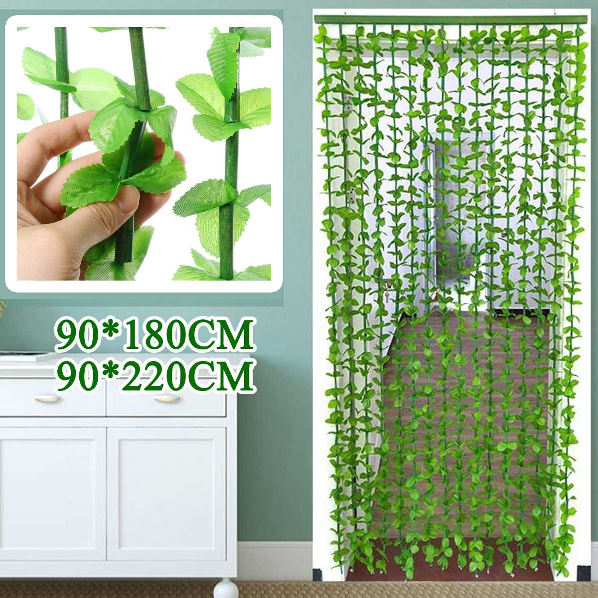 16 Lines Fly Screen Green Leaf Bamboo Leaves String Curtain 90*180CM/90*220CM For Indoor Home Backdrop Shop Restaurant Decor