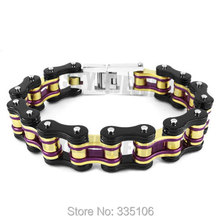 Free shipping! Purple Gold Black Heavy Bicycle Chain Biker Bracelet Stainless Steel Jewelry Motor Biker Men Bracelet SJB0281