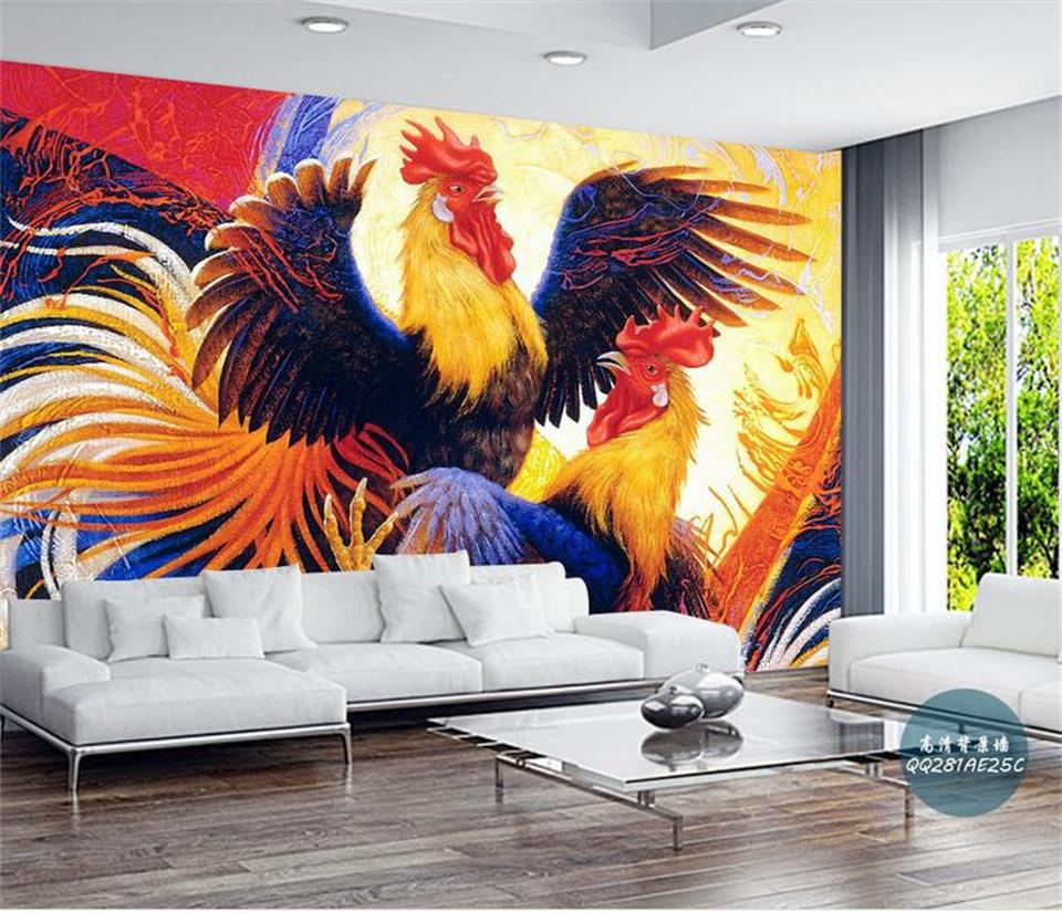Custom Size Wallpaper 3D Photo Wallpaper Kids Room Mural Two Big Cock Fight 3D Painting Sofa TV Background Wallpaper For Wall 3D shinehome black white cartoon car frames photo wallpaper 3d for kids room roll livingroom background murals rolls wall paper