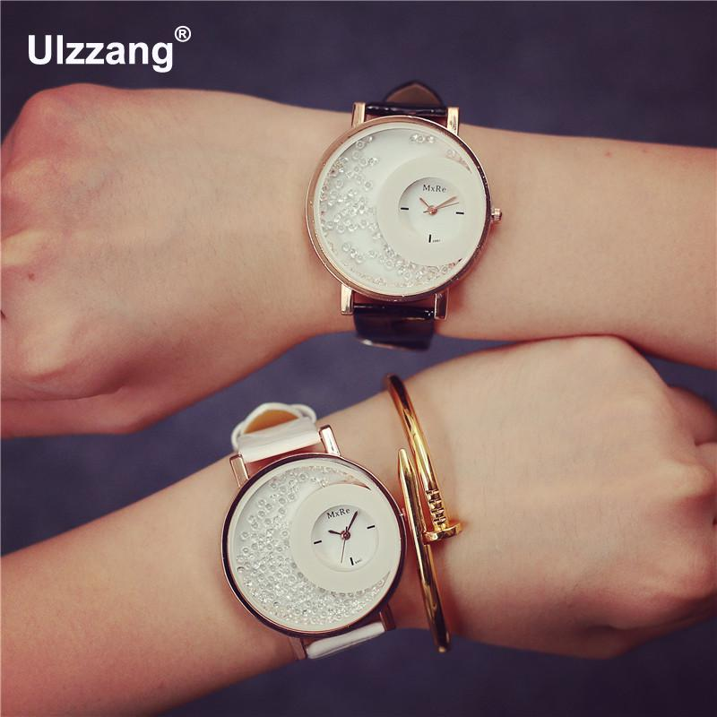 Hot Sale Mxre Brand Pearl Stylish Diamond Leather Quartz Watch Wristwatch for Women Ladies Girls Black White diamond stylish watches for girls