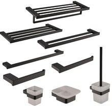 New SUS 304 Stainless Steel Bathroom Hardware Set Black Matte Paper Holder Toothbrush Holder Towel Bar Bathroom Accessories цена 2017