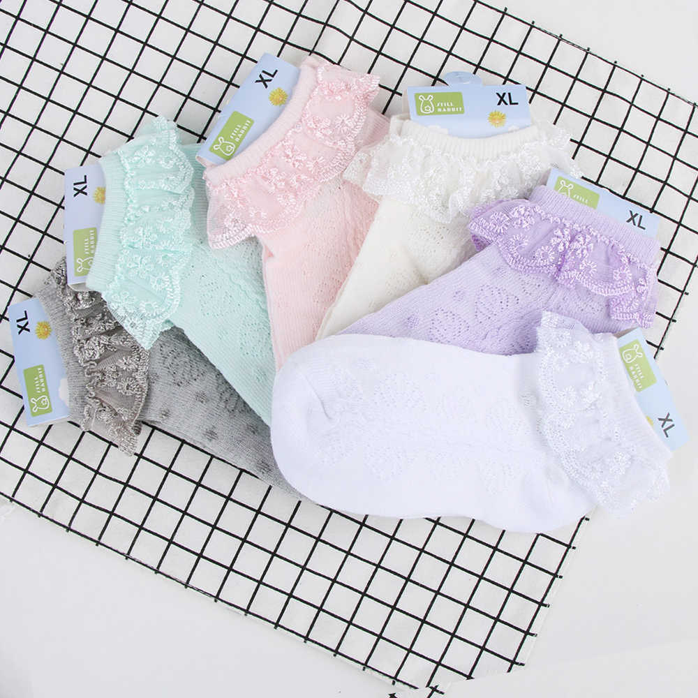 New Spring Summer Candy Colors Retro Lace Ruffle Frilly Ankle Short Socks Kids Princess Baby Girl Socks Retail one pairs for Kid