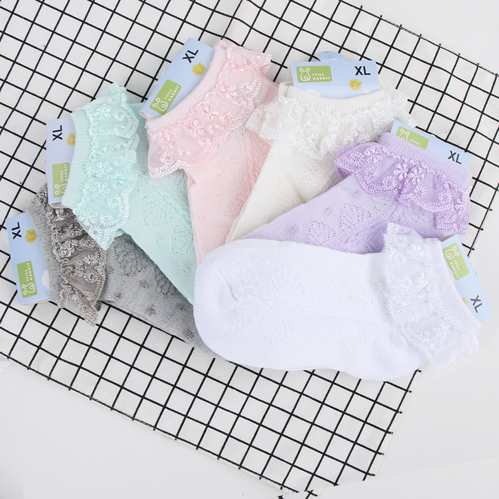 New Spring Summer Candy Colors Retro Lace Ruffle Frilly Ankle Short Socks Kids Princess Baby Girl Socks Retail One Pairs