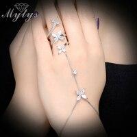 Mytys Fashion Palm Bracelet Connected Finger Slave Bracelet Zircon 18K White Gold Plated Fashion Jewelry R1176