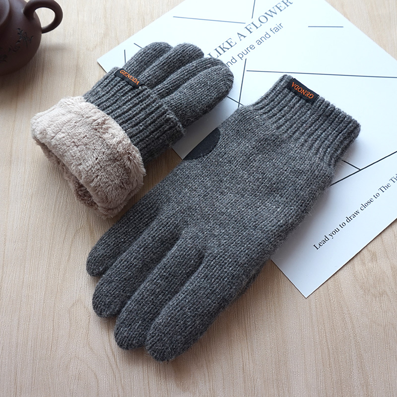 2019 New Men Gloves Touch Screen Warm Gloves Fashion Male Winter Velvet Thick Warm Wool Kniting Gloves Unisex Free Shipping