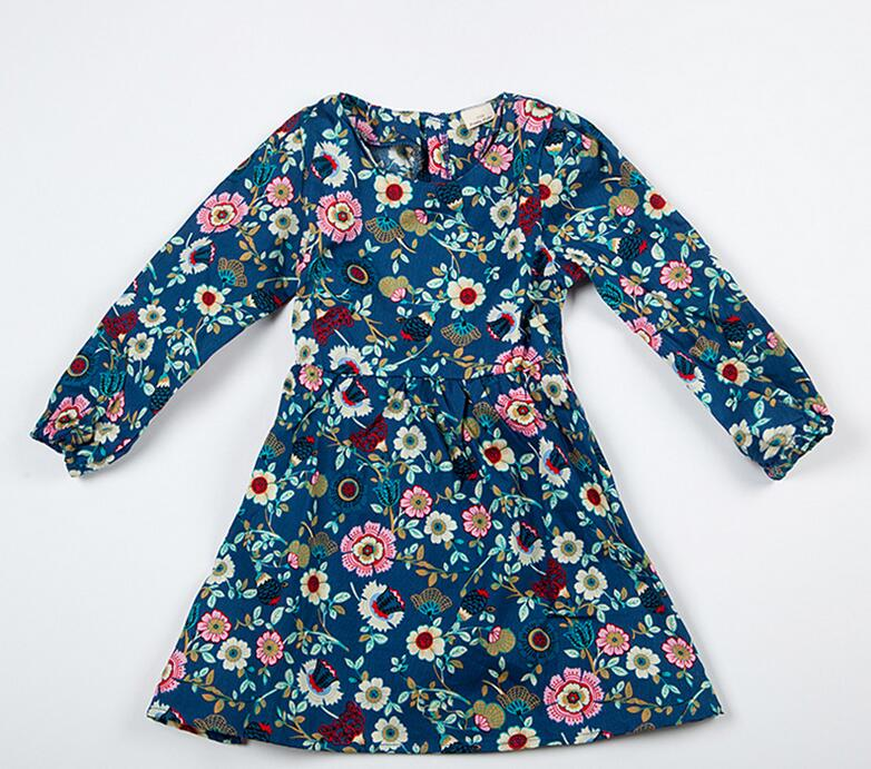 Danmoke Girls Dress 2017 New Spring&Summer Baby Girls Dress Floral Pattern Print Design Long Sleeve Girls Clothes 2-8Y 2016 spring summer new style romantic floral printing lapel button fly long sleeve woman shirt chiffon dress with pocket design