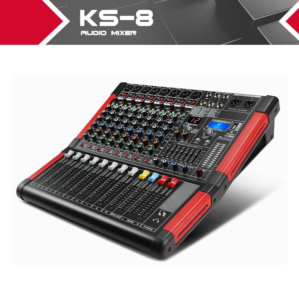 Table de mixage Audio 8 canaux XTUGA KS 8 avec affichage numérique MP3, Bluetooth, EQ, effets pour scène Kraoke utilisation pour DJ, fête-in Microphones from Electronique    1