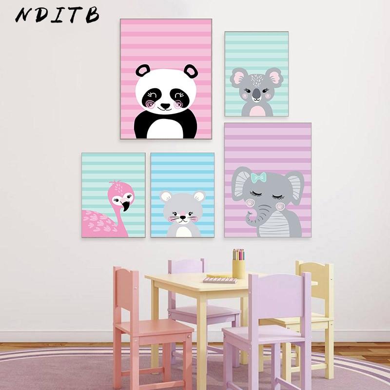 NDITB Woodland Animal Koala Flamingo Canvas Posters Baby Nursery Wall Art Print Cartoon Painting Nordic Kids Decoration Pictures