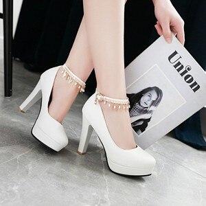 Image 4 - Große Größe 11 12 13 14 15 16 17 damen high heels frauen schuhe frau pumpen Paket die ferse Paket zehen Dick mit sandalen