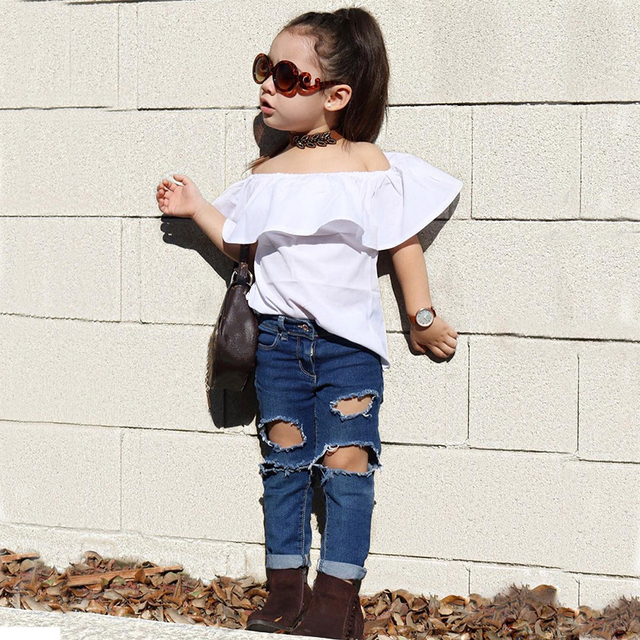 d936fb7406c7 2018 New Toddler Girls Kids Off Shoulder Tops Ruffle Loose Shirt Distressed  Denim Pants Jeans Outfits Set 2pcsMCC031