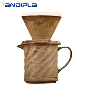 Vintage Japanese Style Ceramic Coarse Pottery Coffee Filter Cup Manually Coffee Filter Drip Mug Cafe Coffee Tea Tool Accessories