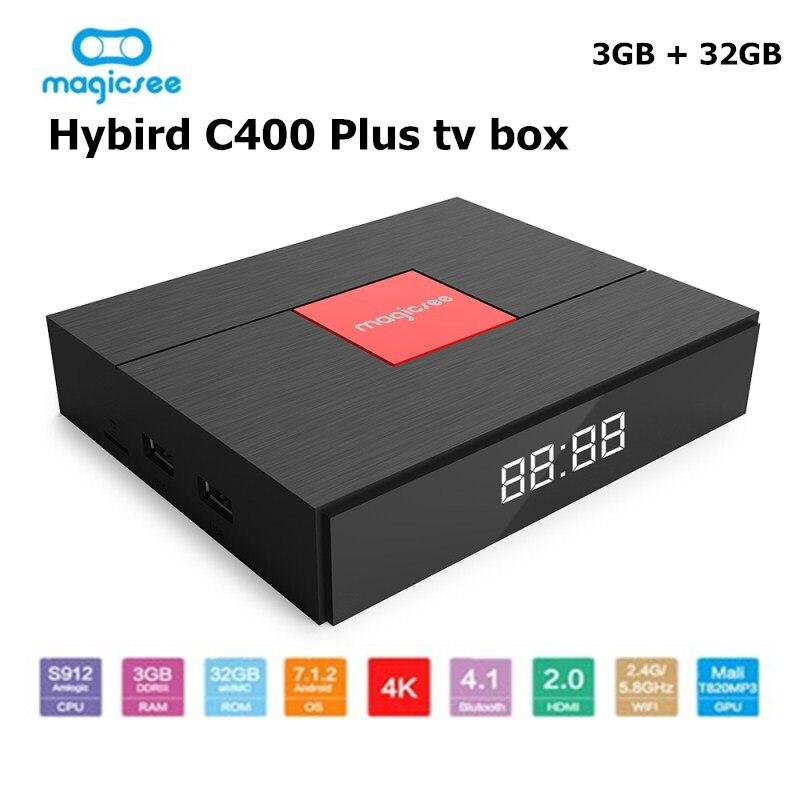 Magicsee C400 Plus Smart TV Box Amlogic S912 Octa Core 4 K Smart TV Box DVB-S2 DVB-T2 Câble Double WiFi set Top Box Pour Android