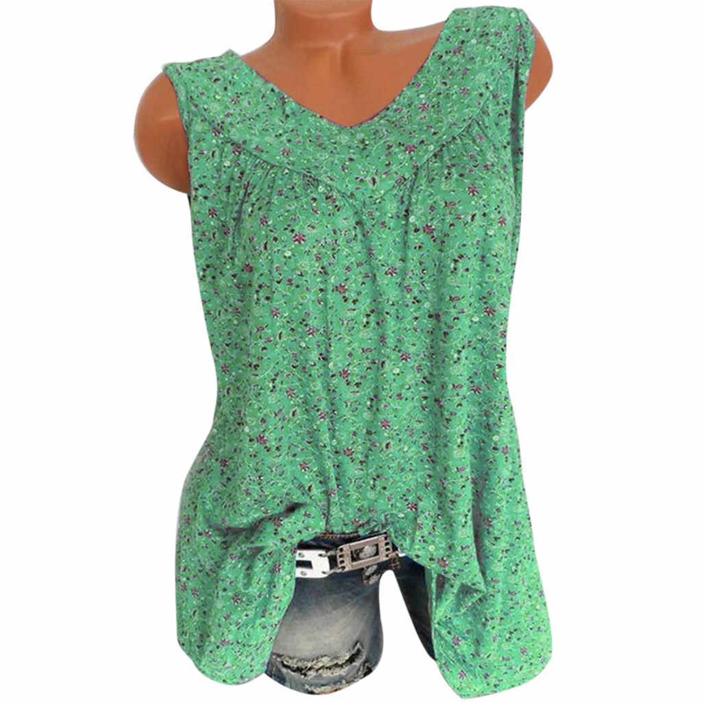 多色トップ女性ファッショントップス Mujer Verano に 2019 V ネックカジュアルルーズ花プリント Tシャツノースリーブトップ女性のエレガントなシャツ