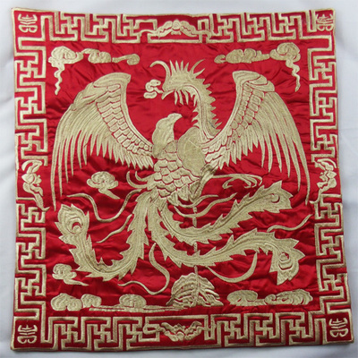 Вышивка Феникс декоративная Рождественская наволочка для подушки 43x43 см диван подушка на спинку стула винтажная китайская наволочка - Цвет: red with gold