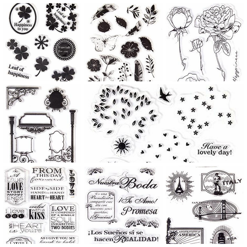 Block frame Flowers stick figure series TPR clear stamp Transparent Stamp For DIY Scrapbooking Card Making