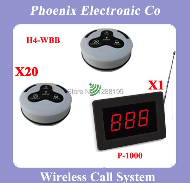 Envío Libre, Wireless Sistema de Llamada Se Utiliza para el Equipo del Restaurante, 20 Campanas de mesa y 1 Receptor de la Exhibición