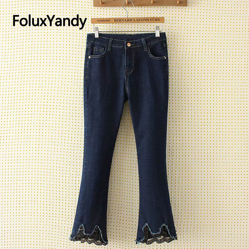 Lace Cuffs Flare Pants Denim Jeans Women Casual Stretched Slim Plus Size Skinny Jeans Blue Trousers KKFY2994