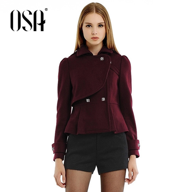 cebcbf3b1d3 OSA 2015 Women Fashion Tunic Double Breasted Short Coat Lapel Short Coat  For Women SW403004