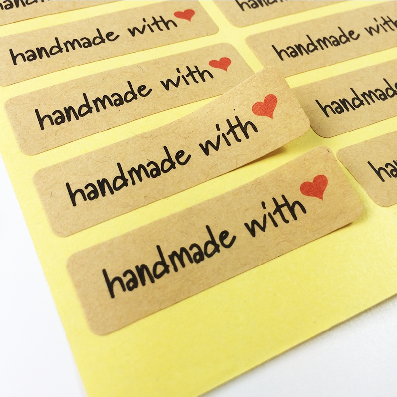 100 Pcs/lot Hand made with heart Kraft Paper Seal Stickers For Handmade Products Diy Bakery Packsge Label Adhesive Sticker