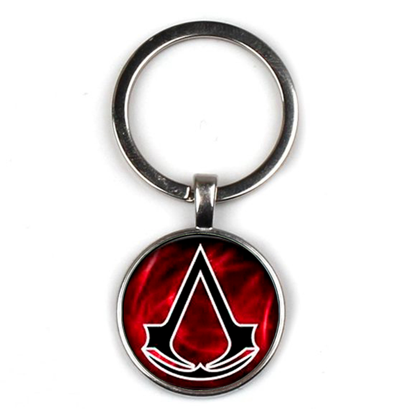 Vintage Classic Assassin 39 s Creed Key chain Punk Personality Symbol Glass Pendant Key ring Men Women Jewelry Party Gifts Souvenir in Key Chains from Jewelry amp Accessories