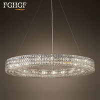 Modern Crystal Chandelier Light Round Diamond Ring Chandeliers Lamp Lustres de cristal Hanging Lighting Living Room Bar Bedroom