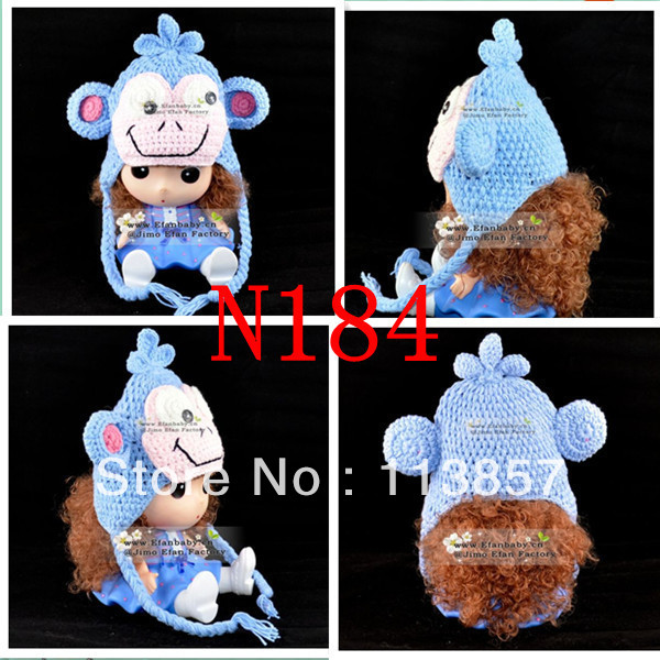Hot Sale Monkey Animal Character Winter Crochet Baby Hat Pattern
