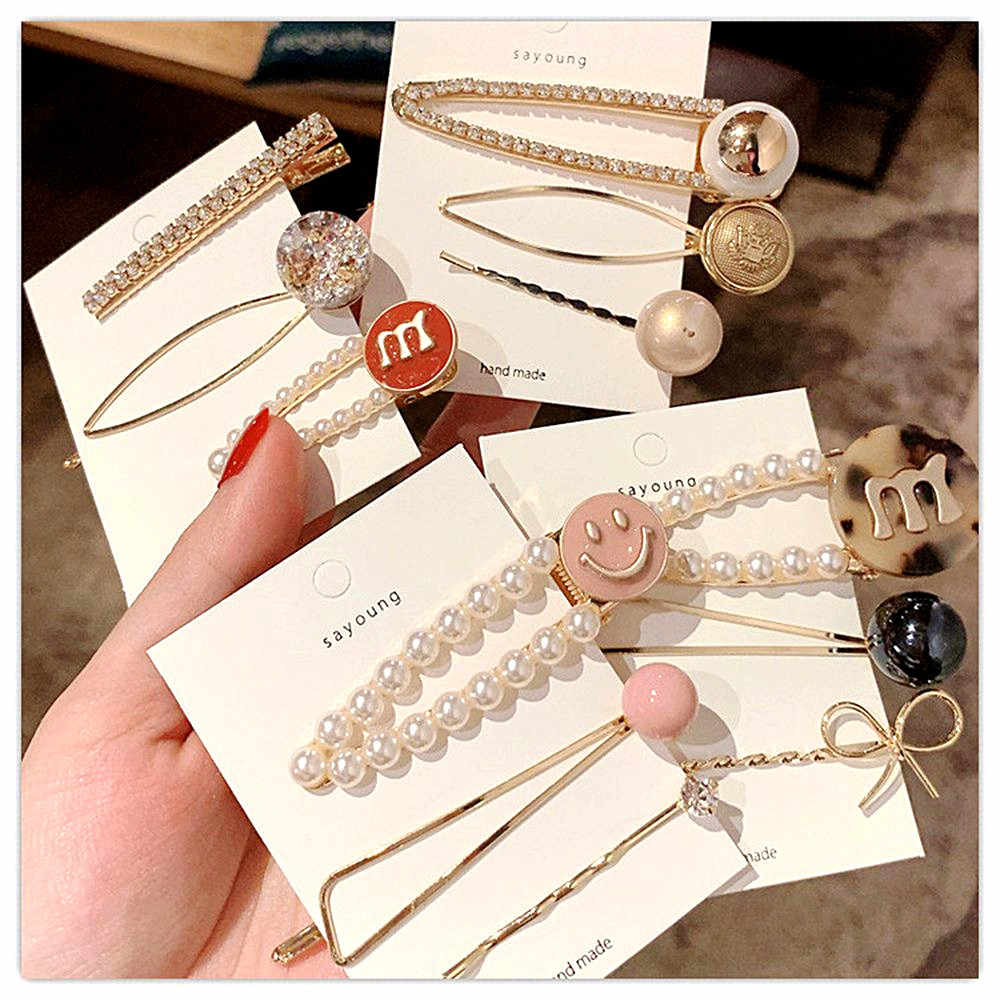 3pcs/Se Fashion Women Metal Hairpins Imitation Pearl Colorful Beads Hair Clips Irregular Geometric Hair Styling Accessories