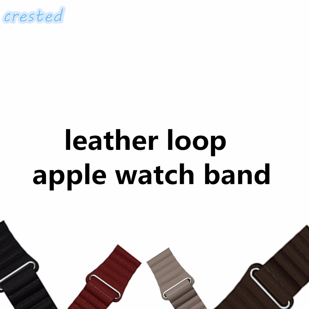 CRESTED leather loop band for apple watch band 42 mm/38 strap bracelet & Adjustable Magnetic Closure Loop leather strap crested leather loop band for apple watch 42mm 38mm