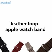 Хохлатая кожаная Петля ремешок для Apple Watch группа 42 мм/38 Ремешок Браслет и регулируемый Магнитная Накладные волосы петли кожаный ремешок