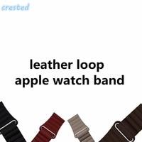 Genuine Leather Loop For Apple Watch 38mm 42mm Strap Bracelet Adjustable Magnetic Closure Loop Band Leather