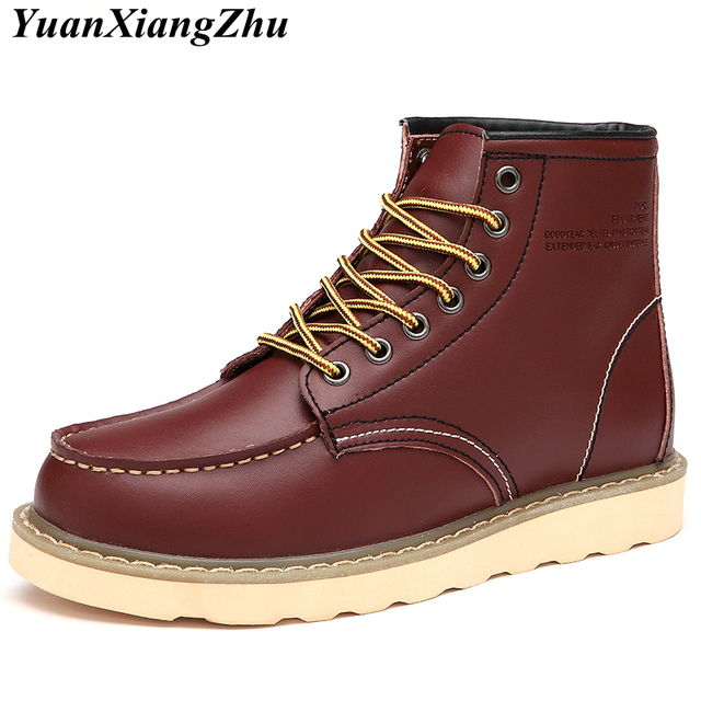 5d641832 Genuine Leather Boots Men's Military Boots Fashion Martins Booties Plus  Size Shoes Man Ankle Boots Winter Warm Botas Mujer 45