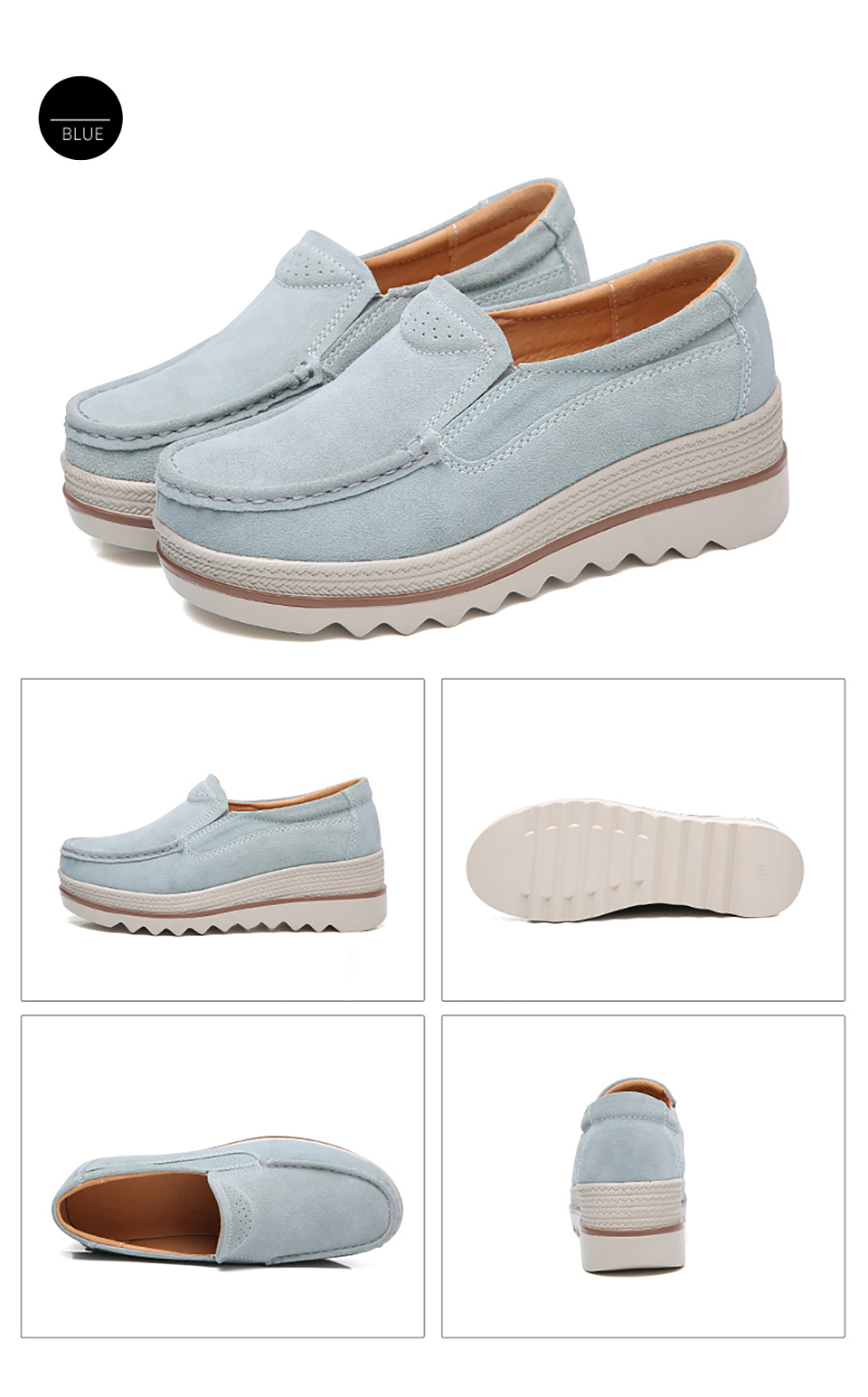 HTB1YFpMOhTpK1RjSZR0q6zEwXXaS 2019 Spring Women Flats Shoes Platform Sneakers Slip On Flats Leather Suede Ladies Loafers Moccasins Casual Shoes Women Creepers