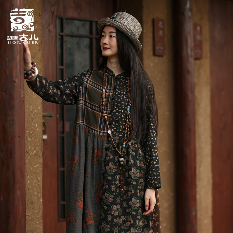 Jiqiuguer New National Style Women s Wear Spring Retro Print Patchwork Dress Rural Style Long Dresses