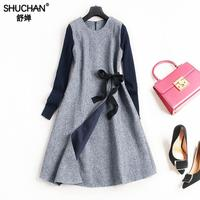 SHUCHAN new items DRESSES Office Lady A-line Solid Sashes O-neck Winter vestidos camiseros mujer manga larga dress for wome 8927