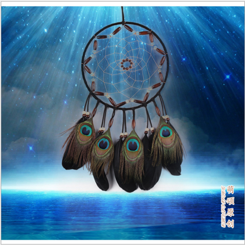 Handmade Indian Style Wind Chimes Dream Catcher Mascot Gifts Peacock hair natural feathers Dreamcatcher Home Decor Car Pendant